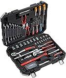 Meister Werkzeugkoffer 76-teilig ✓ Werkzeug-Set ✓ Für Haushalt, Garage & Werkstatt | Profi Werkzeugkoffer befüllt | Werkzeugkiste | Werkzeugbox komplett mit Werkzeug | 8973300