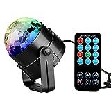 KINGSO Mini RGB LED Discokugel DJ Lichteffekt Stage BühnenBeleuchtung,3W Partylicht mit mit Fernbedienung, für Disco, Party,Ballsaal,KTV,Bar,Bühne,Club