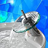 Ridgeyard Glas Waschtischarmatur Armatur Waschbecken Einhebelmischer Wasserhahn Bad Küche Home Kitchen Waterfall Glass Fountain Basin Bathroom Tap Sink Designer Hot/Cold Faucet