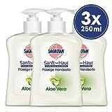 Sagrotan Handseife mit frischem Duft nach Aloe Vera – Antibakterielle Flüssigseife – 3 x 250 ml Seifenspender im praktischen Vorteilspack