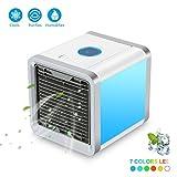 Mini Tragbare Mobile Klimaanlage Luftkühler ,Mini Air Cooler USB Klimagerät 3 in 1 Raumluftkühler, Luftbefeuchter und Luftreiniger Tragbarer Tischventilator für Büro,Hotel,Garage und Haus usw