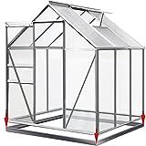 Deuba® Aluminium Gewächshaus 5,85m³ mit Fundament Treibhaus Gartenhaus Frühbeet Pflanzenhaus Aufzucht 190x195cm ✔ Modellauswahl ✔verschiedene Größen ✔ mit Fundament