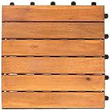 Vanage Holzfliesen Kachel Set - perfekt geeignet als Terrassenfliesen und Balkonfliesen - aus Akazien Holz - Design