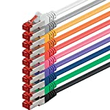 1aTTack CAT6 SFTP Netzwerk Patch Kabel mit 2 x RJ45 Stecker Set (10 Farben, 10 Stück) 0,5m