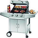 ProfiCook PC-GG 1057 Gasgrill inkl. Temperaturanzeige, 3-Edelstahlbrenner, 3 Heizzonen für indiv. Temperatursteuerung, herausnehmbarer Fettauffangbehälter, stufenlose Temperatureinstellung