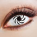 aricona Farblinsen | Horror Halloween Kontaktlinsen ohne Stärke | farbig schwarz weiße Jahreslinsen |bunte farbige 12 Monatslinsen für Cyber Goth Make-up