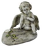 Engel auf Stein mit Spruch Grabengel Trauerengel Grabschmuck Engelsfigur Gabriel