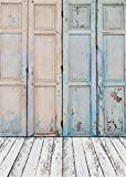 YongFoto 1x1,5m Vinyl Foto Hintergrund Holz Schäbig Blau Holztür und White Holzboden Leer Holzinnenraum Fotografie Hintergrund für Fotoshooting Portraitfotos Fotografen Kinder Fotostudio Requisiten
