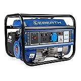 EBERTH 1000 Watt Benzin Stromerzeuger (3 PS Benzinmotor, 4-Takt, luftgekühlt, Ölmangelsicherung, Seilzugstart, 1-Phase, 1x 230V, 1x 12V, Voltmeter)
