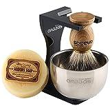 Rasierset Luxus Herren Geschenk Set Rasierpinsel reines Dachshaar silberspitz shaving brush badger Rasierseife Rasierschale
