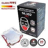20x Atemschutzmaske Staub FFP3 | Atemmaske Atemschutz Halbmaske Staubschutz Respirator Disposable Breathing Dust Mask Staubmasken Feinstaubmaske filter | Air Filtration with Electrospun Nanofibers