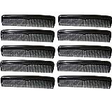 COM-FOUR® 10x Kamm mit unterschiedlichen Kammstärken, Taschenkamm in schwarz (10 Stück - schwarz)
