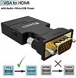 FOINNEX VGA zu HDMI Adapter mit Audio (Alter PC zu TV/Monitor mit HDMI), VGA zu HDMI TV Konverter für HDTV, Computer, Projektor mit Audio Kabel und Micro USB Kabel, Plug and Play, Portable Größe.