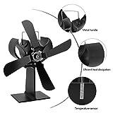 Stromloser Ventilator für Kamin Holzöfen Öfen/Feuerstelle Kaminöfen , 4 Rotorblätter Kamin-Ventilator Ofenventilator(schwarz)----Yacool