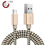 Zeuste 1.8m Premium Micro USB Nylon Kabel High Speed USB 2.0 Datenkabel Ladekabel für Android, Samsung, HTC, Motorola, Nokia, LG, HP, Sony, Blackberry