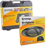 Campingkocher Gas mit Grillplatte 1-flammig max. Leistung 2,5 KW Grillaufsatzufsatz