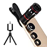 Hihoddy Fisheye Objektiv Set Clip-On Kamera Adapter 4 in 1 Linsen Set mit Mini Stativ für...