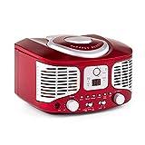 auna RCD 320 • CD Radio • Stereoanlage • Nostalgie Küchenradio • Vintage Design • CD Player • UKW Radiotuner • AUX-Eingang zum Anschluss externer Audiogeräte • Digital-Anzeige • einfache Wiedergabeprogrammierung • Wurfantenne • tragbar • rot