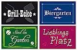 4er Set Gartenschilder - Kunststoff - Wetterbeständig - Grillecke/ Lieblingsplatz/ Biergarten/ Sind im Garten - zur einfachen Befestigung (4 Ecklöcher)