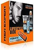 L'Oréal Men Expert Pflegeset Lifestyle Box - Geschenkset inkl. Reinigungsgel, Feuchtigkeitscreme, Deo Spray + Mobile Ladestation, 1 Set