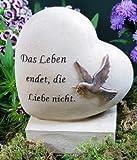 Grabherz mit Taube 'Das Leben endet, die Liebe nicht'