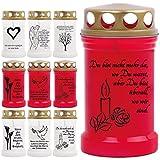 Grablicht Grabkerze Öllicht mit Spruch und Bild - 9 Motive - Tagebrenner Ersatzkerze Auswahl: weiss mit Kerze