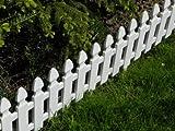 Zaun Rasenkanten Beeteinfassung Palisade Beetumrandung Garten Rasen Zierzaun Gartenzaun weiß 2,00 m Set 4 Module