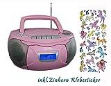 Kinder Mädchen Stereoanlage CD-Player Radio Kassettendeck CD-Radio Boombox inkl. Einhorn Sticker