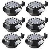 6Stück schwarz 3LED Solar Leuchte Garten Lampe Wand Dach für Dachrinne oder Garten Zäune