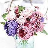 Longra Wohnaccessoires & Deko Kunstblumen Künstliche Fake Pfingstrose Seide Blume Bridal Hortensie Home Hochzeit Garten-Dekor Bouquet (purple)