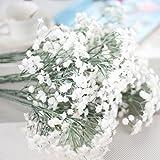Hochzeit Kunstblumen, Lenfesh Fake Silk Party Strauß Zuhause Dekor (Weiß 3, Hoch: 69cm)