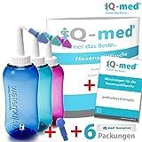 Nasendusche von iQ-med® 500ml + Rezeptbuch + 2 Aufsätze | Nasenspülung: Natürliche Hilfe bei Erkältung und Allergien | auch für Kinder geeignet | Nasenspülkanne, Nasen-Dusche, Nasen-kanne, Nasenspülset, Nasen-spülung, Nethi, Neti, Nase Spül-kanne (blau)