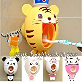 Baby-Zahnbürste-Spender, scherzt Hände frei Zahnpasta-Spender BigNoseDeer Kinder automatisches Karikatur-nettes Tier-Zahnpasta-Squeezer-gutes Geschenk(Tiger)