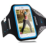 Sportarmband Hülle iPhone 6 Plus, zenmo Armtasche Hülle Oberarmtasche Mit Schlüsselhalter, Kabelfach, Anti Rutsch Fitness Armband für Gymnastik, Jogging, Workout für iPhone 6s/ 7plus, Samsung Galaxy S7/ S6/ S5, 5.5' Smartphone (Schwarz)