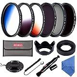 58MM Filter Set Beschoi 6Pcs Filter Kit (CPL+ND4+ND8)+ Verlauf Farbe Filter( Orange Blau Grau )+...
