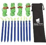 GEERTOP 10 Stck 18cm Aluminium Zeltheringen Heringe & 4 Stck a 4mm 400cm leuchtend reflektierend Abspannseile Seil & Tasche für Wandern Bergsteigen Camping (Blau)