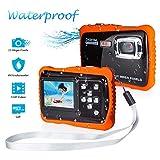 FLAGPOWER Kinder Kamera Wasserdicht mit 16GB MicroSD-Speicherkarte, Unterwasser Kamera Camcorder...
