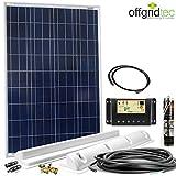 Wohnmobil Solaranlage Basic Starter 12V - Solarset für Wohnwagen - 100 Watt Solarmodul - Halterungen - Laderegler, Zubehör