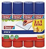 tesa Stick Klebestift / Geruchsneutrale Klebestift Großpackung für Pappe & Papier / Lösungsmittelfrei & kalt auswaschbar / 4 x 20g