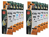10 Druckerpatronen komp. für CANON PGI-520BK CLI-521BK CLI-521C CLI-521M CLI-521Y 2 x schwarz 2 x photoschwarz 2 x blau 2 x rot 2 x gelb