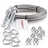 Seilwerk STANKE Rankhilfe Drahtseil verzinkt 20m Stahlseil 3mm 6x7, 2x Spannschloss M5 Haken+Öse, 8x Kausche, 8x Bügelformklemme - SET 5