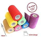 4 x Haftbandage, cohesive Bandage, selbsthaftende Bandage, Sport- Bandage, 10 cm, 4,5 m