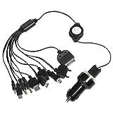 TRIXES 10 in 1 Robustes Universal-Kfz-Ladegerät USB-Multicharger in Schwarz