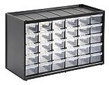 Stanley Kleinteilemagazin/Sortimentskasten (36.5x15.5x22.5cm, mit 30 Schubladen, bruchfester Kunststoffrahmen, transparente Schubladen, geeignet für Wandmontage) 1-93-980