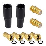 HB-DIGITAL SET: 4x F-Stecker 7mm Vergoldet mit Gummidichtung breite Mutter + 2x F-Verbinder Buchse /...