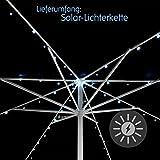 72 LED Solar Lichterkette weiß für Sonnenschirm 8 Stränge á 1,45 m je 9 LED mit Funktionen Sonnenschirmbeleuchtung Blinkfunktion