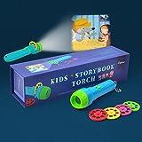 PROACC Kinder Projektor Taschenlampe, Gute - Nacht - Geschichte, Bildungs - Spielzeug, Taschenlampe Projektionslampe mit 4 Märchen 32 Folien für Kleinkind Junge Mädchen BY
