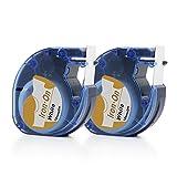 Airmall Aufbügelbare Stoff Etiketten Kompatibel für DYMO LT 18771 LetraTag Drucker 12mm x 2M...
