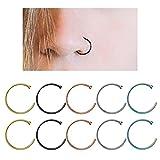 YHmall Edelstahl Nasenring Fake Septum Piercing Scharnier Clicker Hoop Lippen Ohr Ring - 8mm MEHRWEG