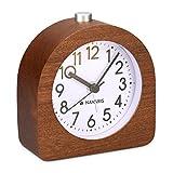 Navaris Analog Holz Wecker mit Snooze - Retro Uhr mit Ziffernblatt Alarm Licht - Leise Vintage Wood...
